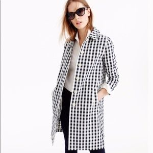 J Crew Gingham Style Trench Coat NWOT